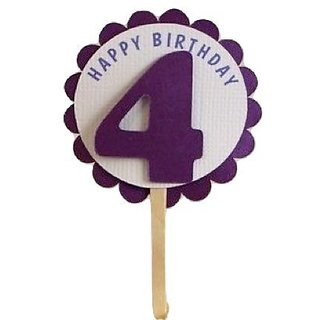 All About Details Shimmer Purple 4th Birthday Cupcake Toppers, Set of 12