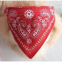 Adjustable Pet Dog Puppy Cat Neck Scarf Bandana Collar Neckerchief (Red)