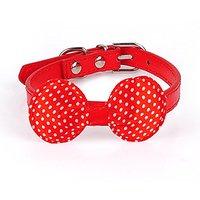 Nugoo W014 Pet Necklace Dog Cat Collar Dog Cat Ketty Puppy Wear Adjustable Soft Bow Tie Kitten Collar (Red)