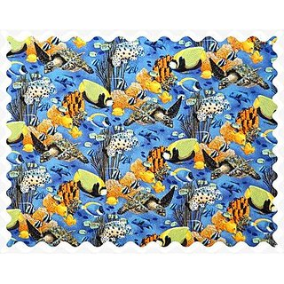 SheetWorld Blue Sea Fish Fabric - By The Yard