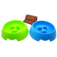 Alfie Pet By Petoga Couture - Sol Slow-Eating Anti-Gulping Pet Food Bowl 2-Piece Set With Microfiber Fast-Dry Washcloth