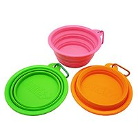Set Of 3 Healthy Diet Rosh Silicone Pet Expandable/Collapsible Travel Bowl With Carabineer For Leash - Colors: Orange, G