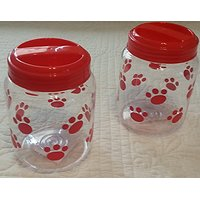 BPA-Free Plastic Airtight Cat & Dog Pet Treat & Food Paw Print Storage Containers Red Print (Set Of 2)