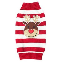 JJ Store Pet Puppy Dog Christmas Knitted Reindeer Stripes Winter Warm Sweater Coat Red