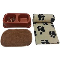 Pet Blanket - Double-sided Pet Bowl - Pet Bowl Mat - Pet Accessories Set