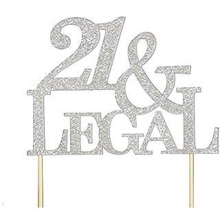 All About Details Silver 21-&-legal Cake Topper