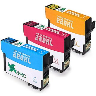 EBBO Replacement for Epson 220XL Ink Cartridge High Yield 3 Color(1Cyan,1Magenta,1Yellow) Compatible with Epson WF-2650