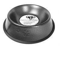 Platinum Pets 4 Cup Embossed Non-Tip Stainless Steel Dog Bowl, Silver Vein