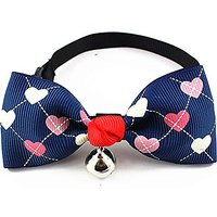 Nugoo 035 Cute Pet Dog Cat Kitty Puppy Wear Adjustable Cozy Bow Tie Collar With Bell (Purple)