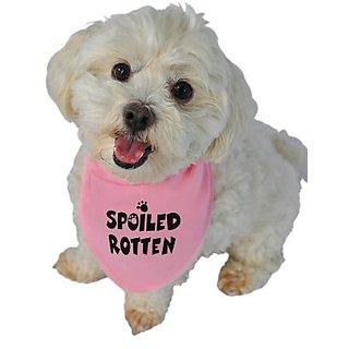 Ruff Ruff and Meow Doggie Bandana, Spoiled Rotten, Pink, Small