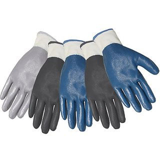 Midwest Gloves & Gear 61P05-L-AZ-6 5-Pack Polyester Liner Dipped in Nitrile Glove, Large
