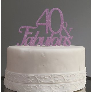 All About Details Purple 40-&-fabulous Cake Topper