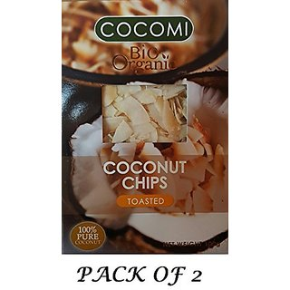 Cocomi Bio Coconut Chips Toasted (PACK OF 2!) USDA Certified Organic 100g