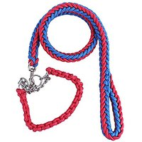 Puppy-league Pet Dog Heavy Duty Nylon Braided Leashes Collar Hand Made Chain Rope For Big Dogs Behavior Training (Red&Bl