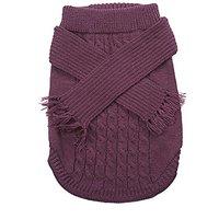 Fashion Pet Outdoor Dog Scarf Sweater, Medium, Plum