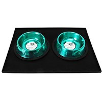 Platinum Pets 1 Cup Embossed Non-Tip Stainless Steel Puppy Bowls With Black Feeding Mat, Caribbean Teal