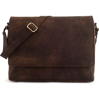 LEABAGS Oxford genuine buffalo leather messenger bag in vintage style - Nutmeg
