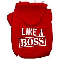 "Mirage Pet Products 18"" Like A Boss Screen Print Pet Hoodie, XX-Large, Red"