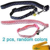 2 Pcs Cat Dog Rabbit Pet Breakaway Collar And Leash Set For Cats Dogs Rabbits Pets Walking, Anchors, Random Colors