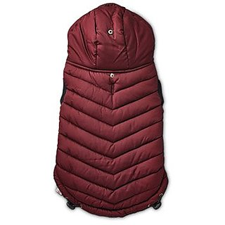 Good2Go Burgundy Quilted Dog Parka, Small
