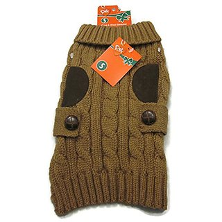 Pet Central Cord Wool Sweater Cable Knit Brown Small