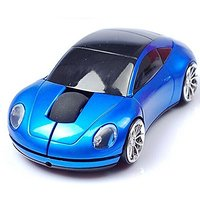 Glamorway Mini 2.4Ghz Wireless Optical Mouse Mice Car Shape USB Receiver For PC Laptop Notebook USB Receiver (Blue)