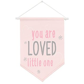 NoJo Wall Banner You Are Loved Little One, Pink/Grey