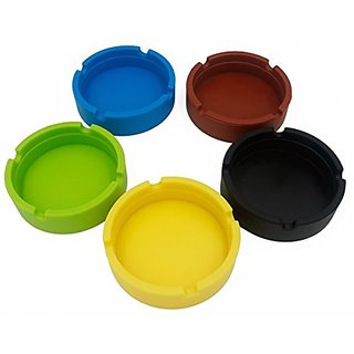 AUTRA Pack of 5 Assorted Color Heat Resistant FDA Silicone Cigra Ashtray for Home/Office/Automotive/Travel