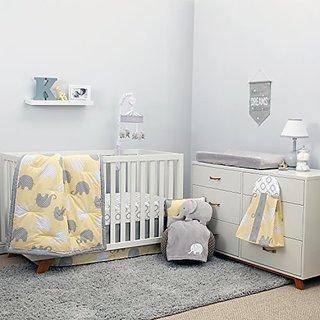 NoJo Elephant 8 Piece Comforter Set, Yellow/Grey