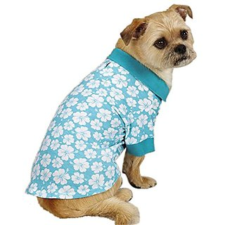 East Side Collection Polyester/Cotton Fruit Frenzy Hibiscus Dog Polo, Large, Blue
