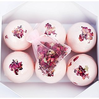 Bloom Bath Bombs Set - Pack of 6 Luxurious Bath Fizzies - Artisan, Handmade, Spa Experience - With Natural Oils and Butt