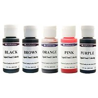 Lorann Oils Liquid Food Coloring - Speciality Colors Bundle- Black, Brown, Orange, Pink, Purple - Set Of Five 1 Ounce Bo