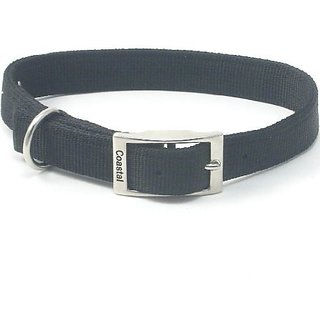 Coastal Pet Products DCP290122BLK Nylon Double Dog Collar, 1 by 22-Inch, Black