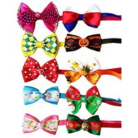 PET SHOW Assorted Styles Small Dog Neck Bowties For Festival Party Pet Puppy Cats Neckties Collar Costume Pack Of 10