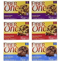 Fiber One NEW! SOFT-BAKED COOKIES VARIETY PACK: 2 Boxes Of DOUBLE CHOCOLATE, 2 Boxes Of OATMEAL RAISIN, 2 Boxes Of CHOCO