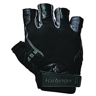 Harbinger Pro Non-WristWrap Vented Cushioned Leather Palm Weightlifting Gloves, Pair, Large
