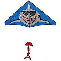 Shark Kite Gangnam Style Giant Delta, String And Handle Included, Easy Flyer, Summer Fun, Beach Kite