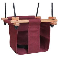 Baby KEA Swing , Burgandy Indoor Or Outdoor Wood, Rope, Canvas Swing For Baby And Toddler 6-36 Months