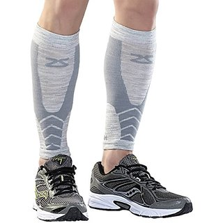 Zensah Fastwool Running Compression Leg Sleeve, Medium, Heather Silver