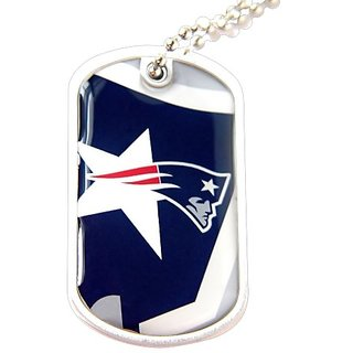 New England Patriots NFL Sports Fans Team Logo Pet Dog Tag ID Domed Necklace Neck Tag Charm Chain