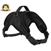 CatYou Choke Free Dog Pet Mesh Vest Harness With Lift Handle & Reflective Function, For Training And Mobility (L, Black)