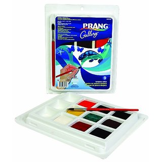Prang Classic Tempera Cakes, 9 Color Set with Brush, Assorted Colors (80900)