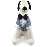 Alfie Pet By Petoga Couture - William Formal Tuxedo With Black Bow Tie - Color: Grey, Size: XL