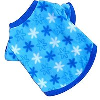 Haogo Pet Puppy Shirt Clothes Polar Fleece Snowflake Printed Vest T Shirt For Small Dog Pet Blue