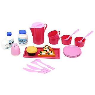 Happy Kitchen Cooking & Serving Pretend Play Set from Little Treasures with 22 Pieces Includes Large Serving Pitcher, Pl