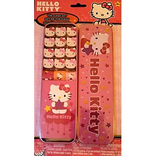 Hello Kitty Tin Case 12 Piece Eraser Set with Stickers
