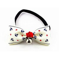 Nugoo Y054 Cute Pet Dog Cat Kitty Puppy Wear Adjustable Cozy Bow Tie Collar With Bell (White)