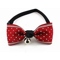 Nugoo 037 Cute Pet Dog Cat Kitty Puppy Wear Adjustable Cozy Bow Tie Collar With Bell (Red)