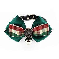 Nugoo 110 Cute Pet Dog Cat Kitty Puppy Wear Adjustable Cozy Bow Tie Collar With Bell (Green)