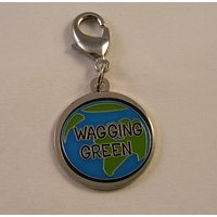 Wagging Green Pet Collar Charm